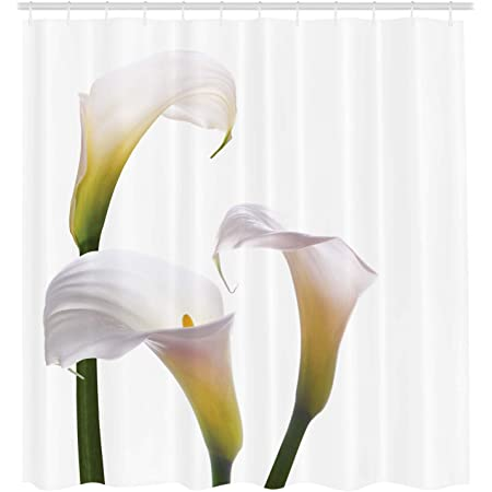 """Ambesonne Flower Shower Curtain, Flourishing Calla Lilies on White Fresh Spring Bouquet Gentle Nature Theme, Cloth Fabric Bathroom Decor Set with Hooks, 105"""" Extra Wide, Yellow White"""