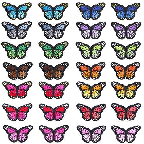 Litthing Buntes Schmetterlingseisen auf Aufnähern Stickapplikationen Aufnäher für Kunsthandwerk DIY-Dekor, Jeans, Jacken, Kinderbekleidung, Tasche, Mützen, Kunsthandwerk Nähe (28 Stück)