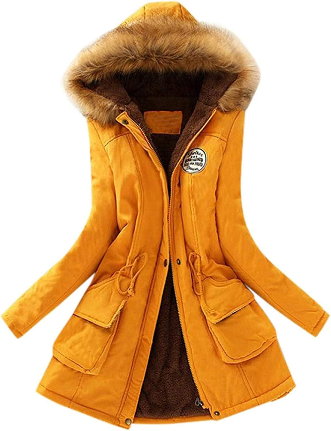 Womens Winter Hooded Jacket Coats Cotton Warm Parkas Casual Trendy Jackets Zipper Trench Coats with Faux Fur Hood