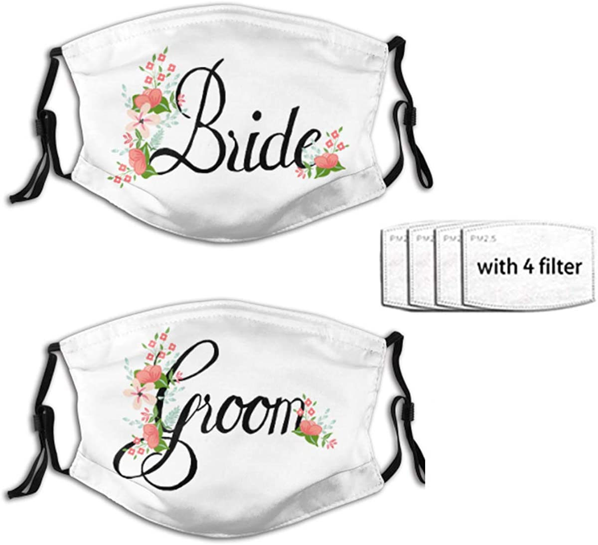 2PCS Bride And Groom Face Mask Reusable Washable Bandanas With Adjustable Earloops Fashion Scarves For Adult 4 Filters