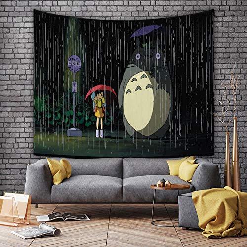 shuimanjinshan Cartone Animato Anime Il Mio Vicino Totoro Panno Appeso Cameretta per Bambini Comodino Sfondo Stoffa Decorazione Camera da Letto tappezzeria da Parete 130(H) X150(L) Cm