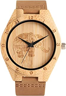 Bamboo Wooden Watch, Men Women Genuine Leather Band Strap Na