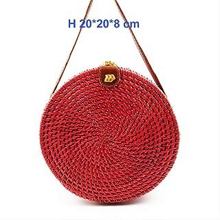 fa1b85195b Muysmy ronde paille sacs femmes d'été rotin sac tissé à la main plage Croix
