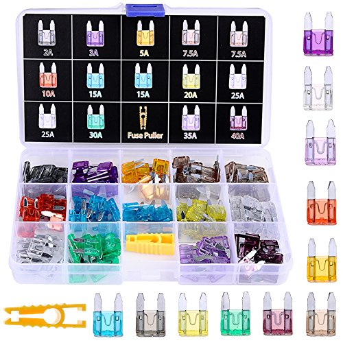 Winlyn 140pcs Assorted Auto Car Truck Small Mini Blade Fuse Assortment 2 3 5 7.5 10 15 20 25 30 35 40AMP Car Boat Truck SUV Automotive Replacement Fuses Mini Small ATM/APM Blade Fuses
