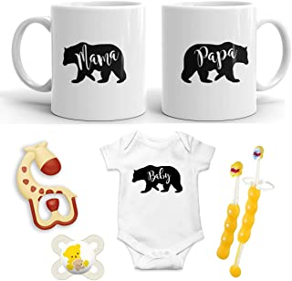 Mama Bear + Papa Bear + Baby Bear Pregnancy Gift - New Mommy and Daddy 11 oz Mug Set with