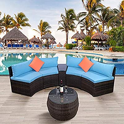 LZ LEISURE ZONE 6-Piece Outdoor Patio Sofa Furniture Sets, Half-Moon Sectional Furniture Wicker Sofa Set with Two Pillows and Coffee Table (Blue Cushions)