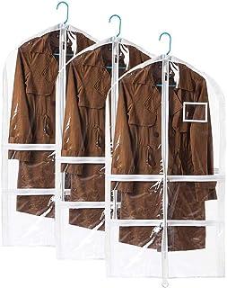 QCWN Translucent PVC Garment Bag, Dance Costume Bags, Foldable Full Zipper Suits Bag Dream Duffel, Versatile Hanging Garment Bag with 4 Large Zipper Pockets. 3 Pcs Clear
