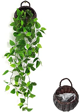 ANZOME Plante grimpante artificielle à suspendre avec fausses feuilles vertes pour intérieur, extérieur, maison, chambre, jar