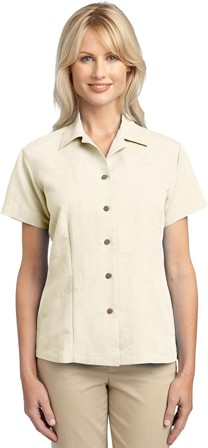 Port Authority L536 Ladies Patterned Easy Care Camp Shirt - Ivory - Medium