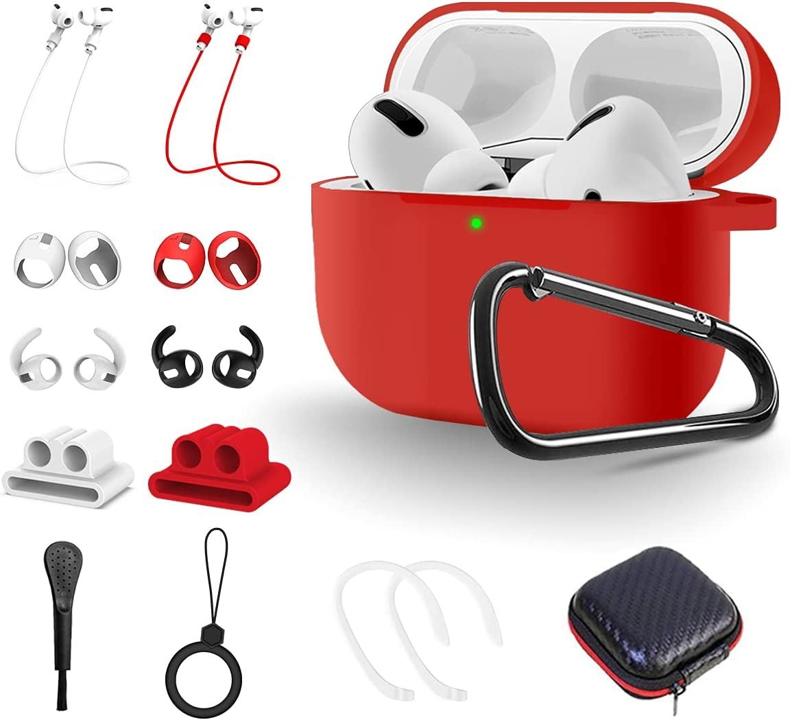 TOLUOHU AirPods Pro Case, 14 in 1 Protective Cover Silicone Accessories Set for Apple AirPods 3rd Gen Charging case, with Ear Hooks/Watch Holder/Eartips/ Strap/Brush/Ring/Keychain/Carrying Box(Red)