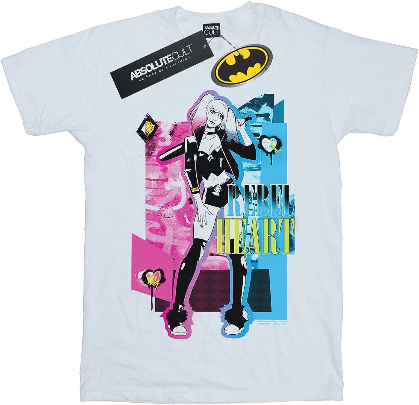 DC Comics Niñas Harley Quinn Rebel Heart Camiseta