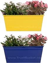 TrustBasketSet of 2 - Rectangular Railing Planter - Yellow and Dark Blue (12 Inch)
