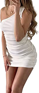 DREAM SLIM-Women's Sexy One Shoulder Sleeveless Stretchy Ruched Club Dress Bodycon Ribbed Knit Mini Dress