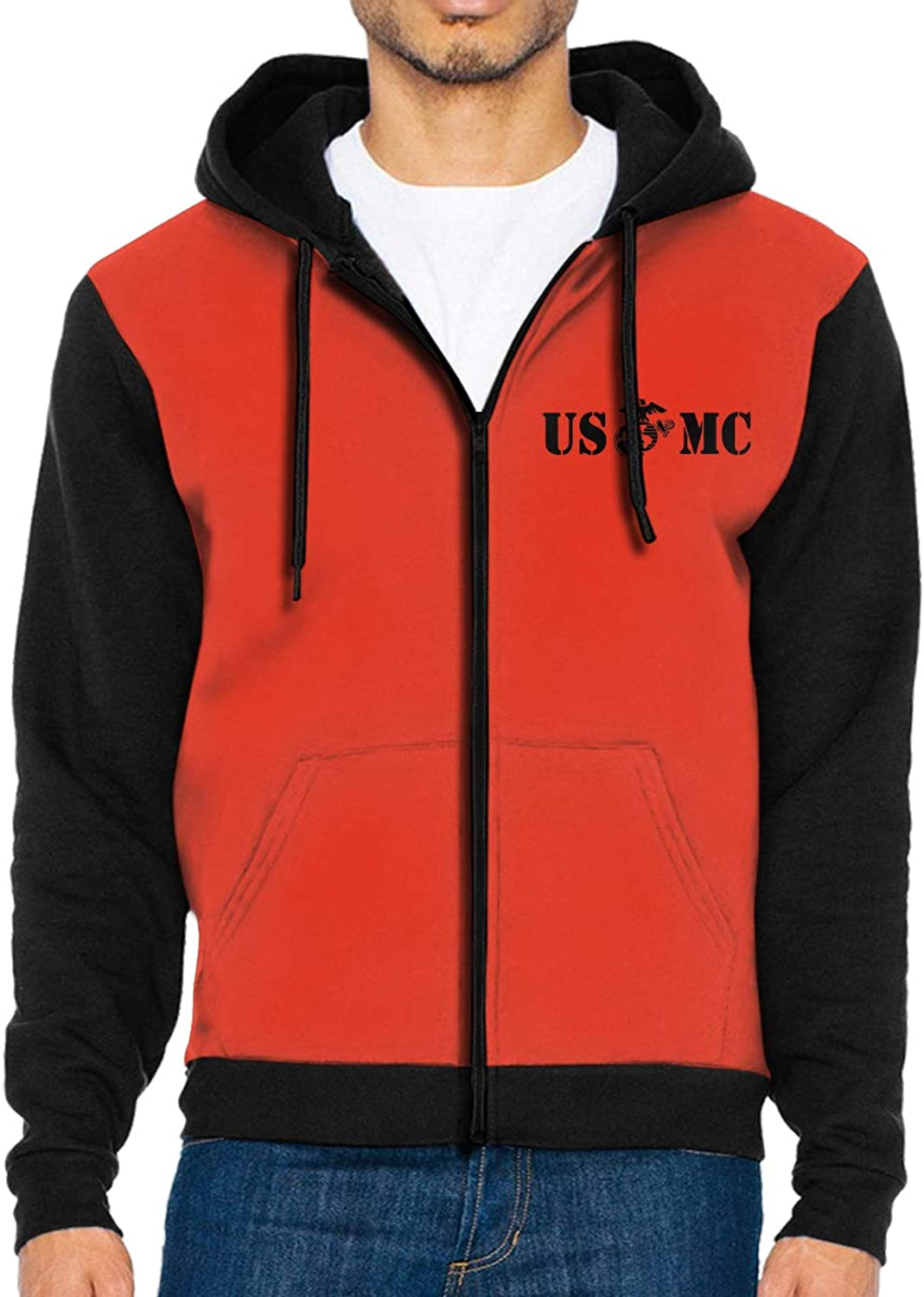 Men's USMC Marines Corps Emblem Full Zip Hoodie Jackets Hooded Sweatshirt