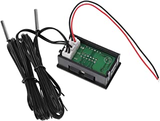 ESden Thermometer, wasserdicht, Dual Display, DC 5 V 80 V, W 2 NTC Temperatursensor, 12 V, 24 V, 72 V, für Auto und Motorrad