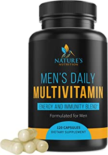 Multivitamin for Men, Extra Strength Daily Multi Vitamin with Vitamins A, C, D, E, B1, Zinc - Made in USA - Best Natural Supplement for Energy & General Health - Non-GMO - 120 Capsules