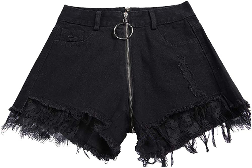 HOSD Summer New Denim Shorts lace Sexy high Waist Ripped Holes