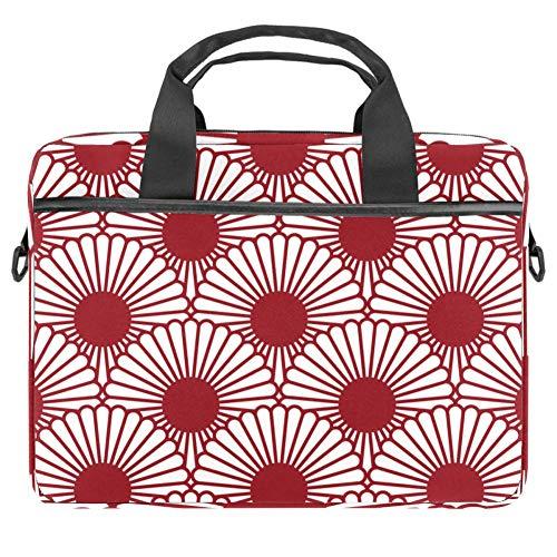 Laptop Shoulder Bag 15 Inch Briefcase Document Messenger Bag Business Handbag with Handle & Shoulder Strap Abstract Flower Red