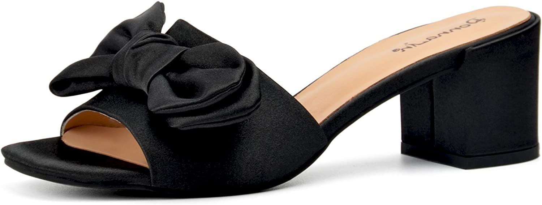 womenIN Women Silk Fabric Slippers Fashion Mid Heels Stylish Comfortable Dress Ladies shoes
