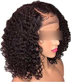 Brazilian Jerry Curl Lace Front Wigs Short Curly Bob Lace Front Wigs Natural Black Remy Bob Human Hair Lace Wig For Women,16inches,150%