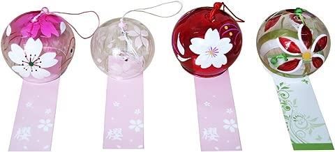 4-piece Handmade Japanese Edo Furin Wind Chime Suncatcher Birthday Valentine's Day Gift Home Decors (Flowers)