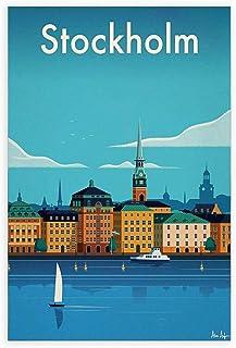 High quality Giclee art print Mediterranean Sea Poster Wall decoration illustration Gift print. Stockholm Vintage Poster