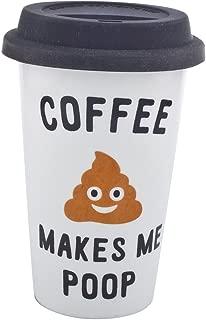 Lux Accessories Black White Coffee Makes Me Poop Travel Coffee Mug Cup