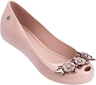 melissa Womens Harmonic Flower Chrome Ballet Flat, Pink Black, Size 6