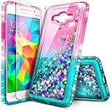NZND Case for Samsung Galaxy J2 Prime/Grand Prime G530 with Screen Protector, Sparkle Glitter Flowing Liquid Quicksand with Shiny Bling Diamond, Women Girls Cute Phone Case Cover -Pink/Aqua