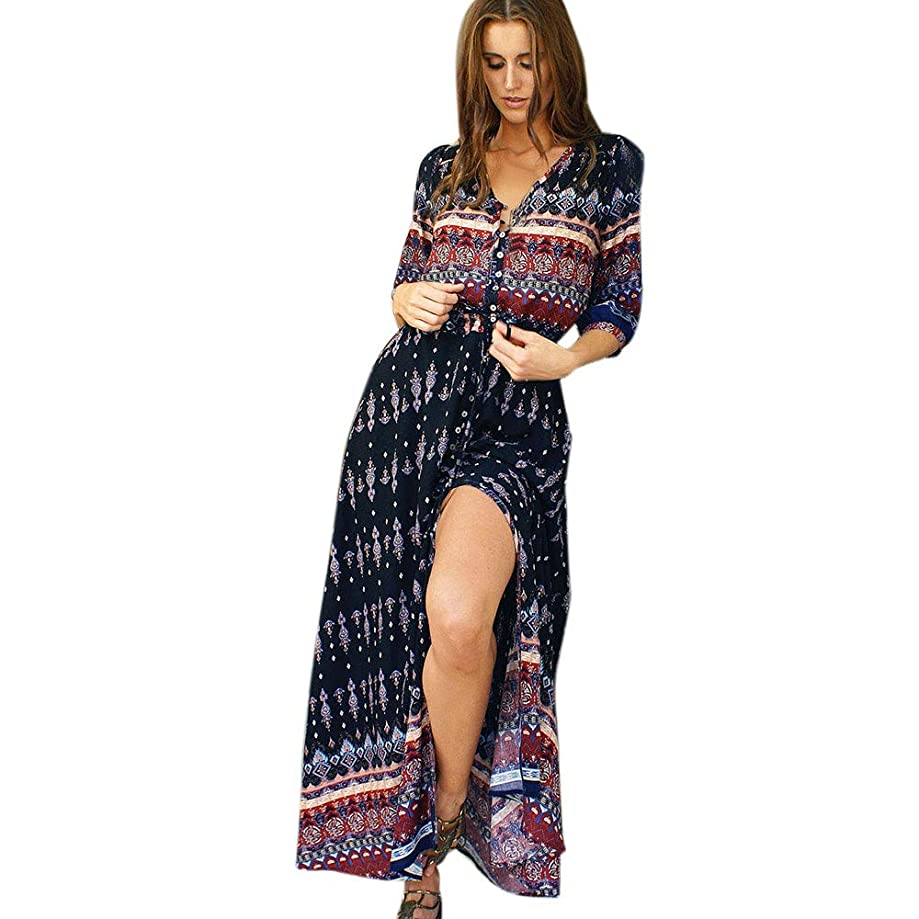 iLUGU Turndown Collar Half Sleeve Maxi Dress for Women 3 Color Vertical Stripes Full Button Jean Dress