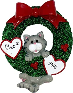 Gray Tabby Cat Glitter Wreath Personalized - (Unique Christmas Tree Ornament - Classic Decor for A Holiday Party - Custom Decorations for Family Kids Baby Military Sports Or Pets)