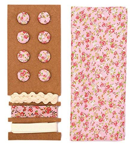 Lili Rose Textile – Kit fleurs rose 48 x 48 cm Bandes 3 x 1 m 8 boutons