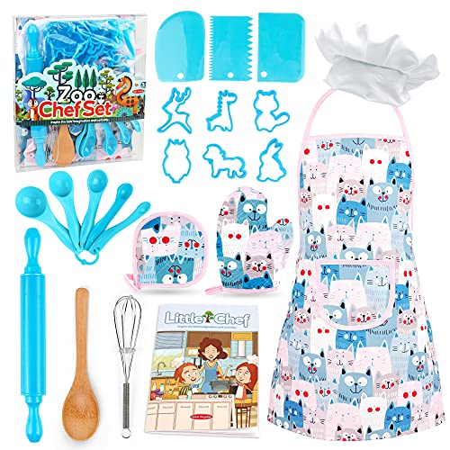 Veitch fairytales Kids Cooking and Baking Supplies Set 22 Pcs Includes Apron Hat Mitt Cookie Cutter Measuring Spoons Dress Up Chef Costume Role Play Gifts for 3 4 5 6 7 8 Year Old Girls Boys