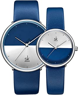 His Hers Couple Watch Gift Set,Valentines Romantic Lovers Watch for Man Woman Leather Strap,Set of 2