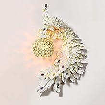 E27 Hars Wandlicht,Pauw Crystal Lampenkap Retro Painted Head Wall Sconce Lamp Fitting Armaturen Met Lamphouder Voor Restau...