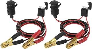 2 cabos de extensão de isqueiro com clipe de bateria de cobre puro de 12 V/24 V 2 metros da Visky.