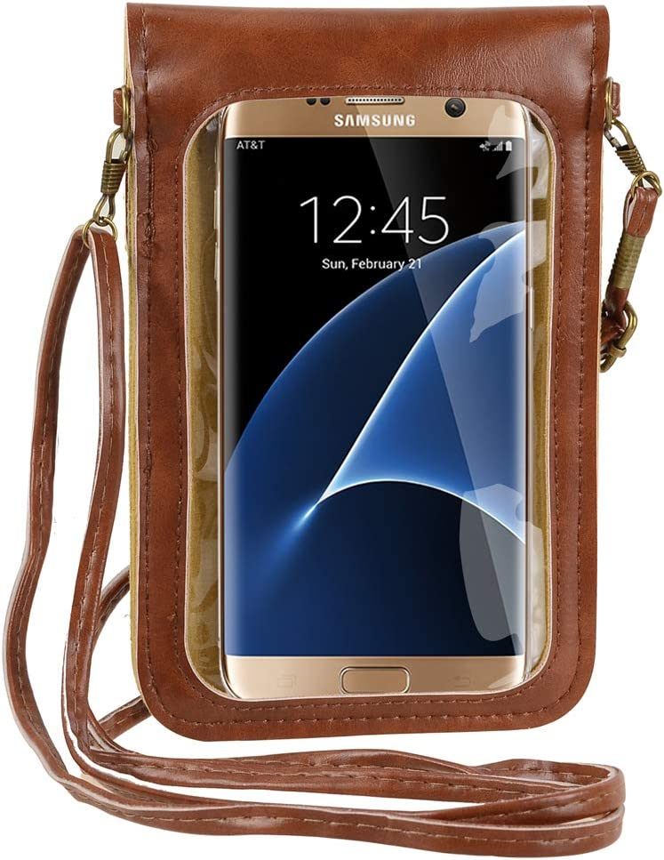 Cell Phone Purse with Clear Window Touch Screen Pouch Small Crossbody Shoulder Bag Wallet Case for iPhone/Samsung Galaxy/Motorola Moto/Google Pixel/LG/OnePlus/Sony Xperia/UMIDIGI (Brown)