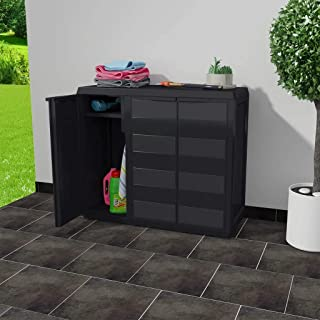 Cikonielf Armario alto de exterior impermeable 97 x 38 x 87 cm Armario de jardín con 3 puertas y 2 estantes ajustables ven...