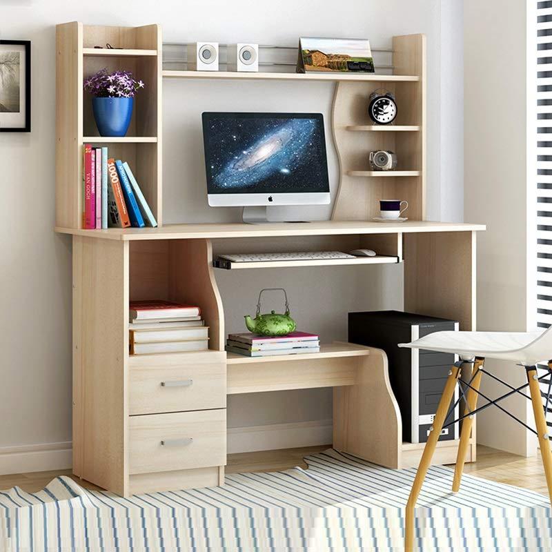 家用书架台式电脑桌学生寝室双层书架木质办公桌简易经济型小桌子省空间卧室写字桌柜子抽屉作业桌 (C款120cm白枫木色升级款)