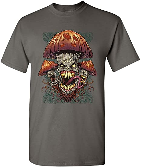 Evil Mushrooms T-Shirt Halloween Hallucinations Nightmare Spooky Mens Tee Shirt