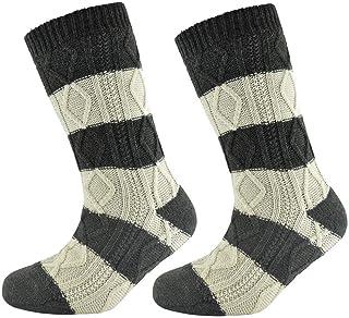 Calcetines gruesos para hombre, con forro polar para acurrucarse, calcetines de invierno de punto de cable, cálidos y térmicos, ideales para regalo