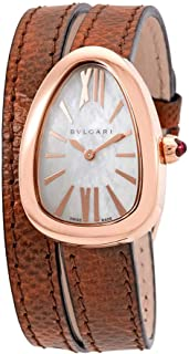Serpenti White Mother of Pearl Dial Ladies Double Spiral Leather Watch 102919