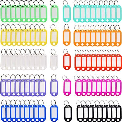 YOTINO 100 Llaveros Etiquetas clave para etiquetar con anillo Etiquetas reemplazables en plástico de colores surtidos para oficinas en el hogar Etiqueta de equipaje (10 colores)