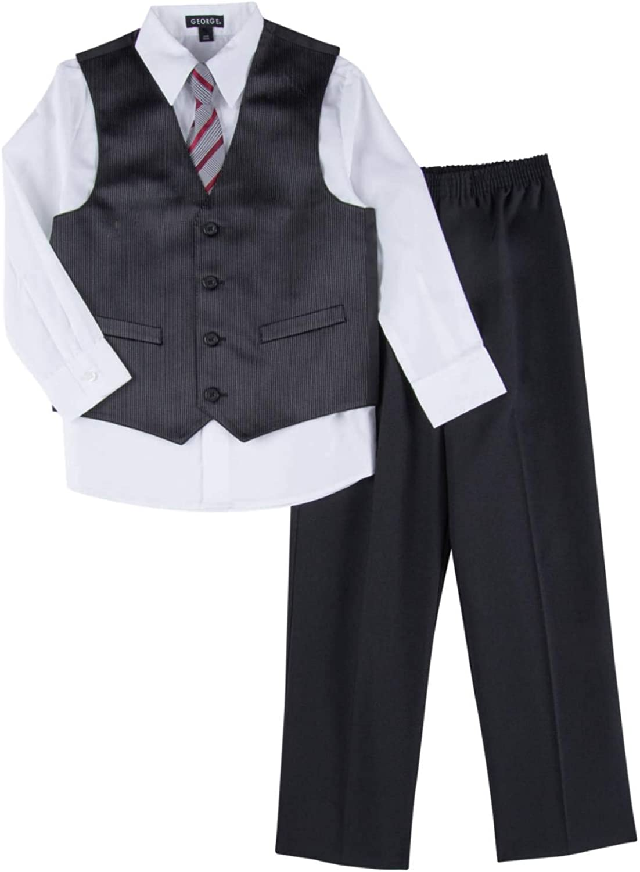 George Boys 4 Piece Suit Black Pin Stripe Dress Up Outfit Holiday Shirt Pants Vest Tie