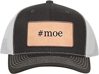One Legging it Around #moe - Leather Hashtag Light Brown Patch Engraved Trucker Hat