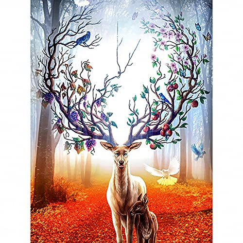 '5D Full Drill Rhinestone Diamond Embroidery Painting Kits, Embroidery Cross Stitch DIY Arts Craft Supply for Adults, Kids, Home, Wall Decor Deer(30x40cm)'