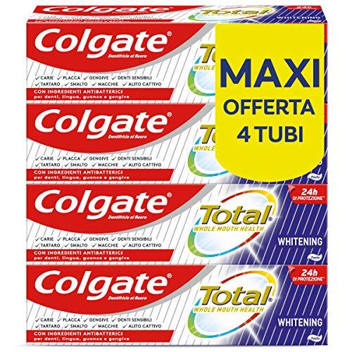 Colgate Total Dentifricio Sbiancante con Ingredienti Antibatterici Total Whitening, 24h di Protezione di Denti, Lingua, Guance e Gengive, 4 x 75 ml