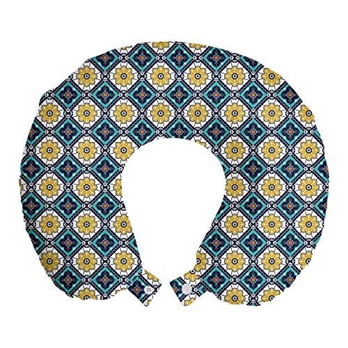 ABAKUHAUS Antique Oriental Reisekissen Nackenstütze, Mosaik Boho Flora, Schaumstoff Reiseartikel für Flugzeug und Auto, 30x30 cm, Pale Kaffee und Petrol Blau