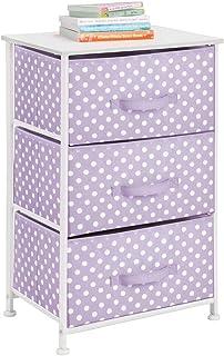 mDesign commode 3 tiroirs – table de chevet en tissu, métal et MDF – table de nuit décorative avec motif à pois polka pour...