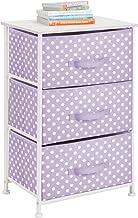 mDesign 3-Drawer Vertical Dresser Storage Tower - Sturdy Steel Frame, Wood Top, and Easy Pull Fabric Bins - Multi-Bin Orga...
